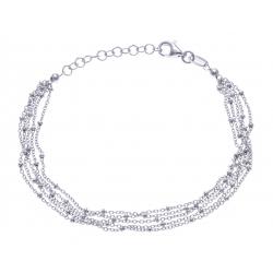 Bracelet argent rhodié 3,8 - 5 fils - 17+3cm