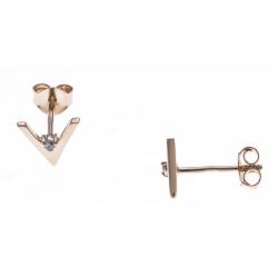 Boucles d'oreille plaqué or - forme V - zircon