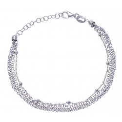Bracelet argent rhodié 4 - 5 fils - 17+3cm