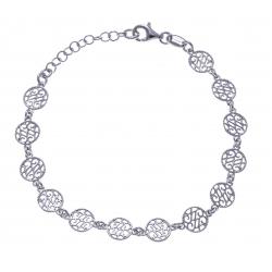 Bracelet argent rhodié 4g - ronds filigranés - 17+3cm