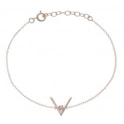 Bracelet plaqué or - forme V - zircon - 17+3cm
