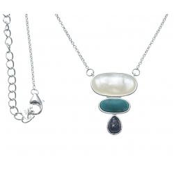 Collier argent rhodié 4g - nacre blanche - howlite - lapis lazuli - 40+5cm