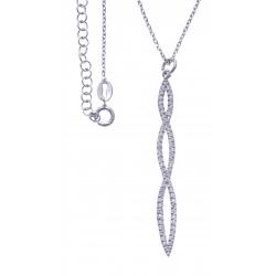Collier argent rhodié 4g - zircons - hauteur 5,5cm - 38+5cm