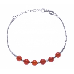Bracelet argent rhodié 4,2g - 6 billes cornaline 6mm - 17+3cm
