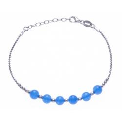 Bracelet argent rhodié 4,2g - 6 billes agathe bleue 6mm - 17+3cm