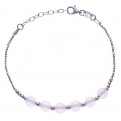 Bracelet argent rhodié 4,2g - 6 billes agate rose 6mm - 17+3cm