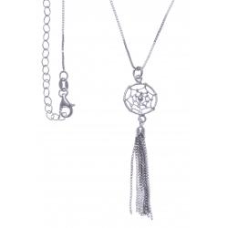 Collier argent rhodié 4,2g - attrape rêve et pampille 3cm - 40+5cm