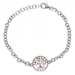 Bracelet argent rhodié 4,3g - arbre de vie - 2 noirs - rosé et rhodié - 17+3cm