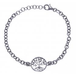 Bracelet argent rhodié 4,3g - arbre de vie - 17+3cm