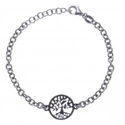 Bracelet argent rhodié 4,3g - arbre de vie - 2 noirs - noir et rhodié - 17+3cm