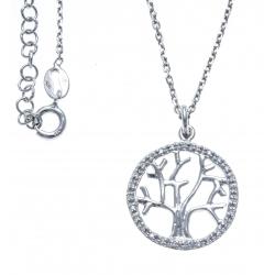 Collier argent rhodié 4,4g - arbre de vie - diam. 20mm - 38+5cm