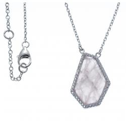 Collier argent rhodié, 4,6g - zircons - quartz rose - 40+2,5+2,5cm
