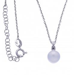 Collier argent rhodié 4,6g - calcédoine / Agate bleue - 38+5cm