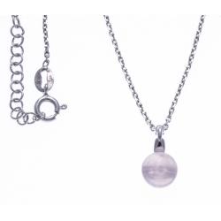 Collier argent rhodié 4,6g - quartz rose - 38+5cm