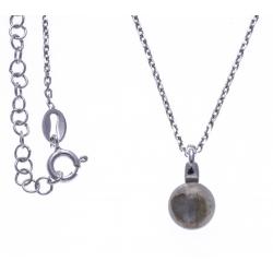 Collier argent rhodié 4,6g - labradorite - 38+5cm