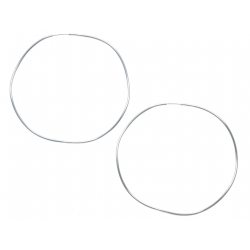 Créoles argent rhodié 1,7g - ondulées - 65mm