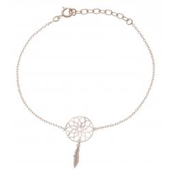 Bracelet plaqué or - attrape rêve - 1 plume - 17+3cm