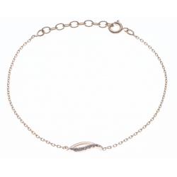 Bracelet plaqué or - vague - zircons - 17+3cm