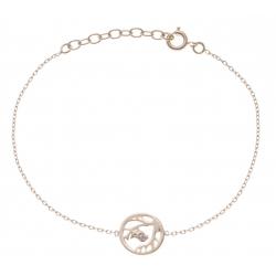 Bracelet plaqué or - oiseau - zircons - 17+3cm