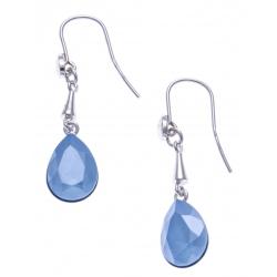 Boucles d'oreille argent rhodié 4,9g - cristal de Swarovski - summer blue
