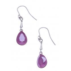 Boucles d'oreille argent rhodié 4,9g - cristal de Swarovski - peony pink