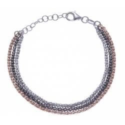Bracelet argent rodié 5g - 3 tons rosé, noir et rhodié - 3 fils - 17+3cm