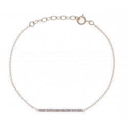 Bracelet plaqué or - barette - zircons - 17+3cm