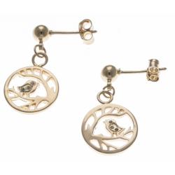 Boucles d'oreille plaqué or - oiseaux - zircons