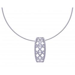 Collier argent rhodié 5,4g - zircons - 38+5cm