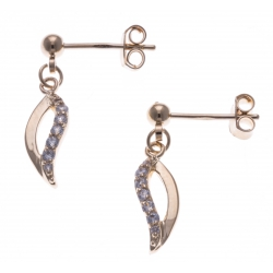 Boucles d'oreille plaqué or - vague - zircons