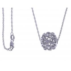 Collier argent rhodié 6,1g - boule -  zircons - 60cm