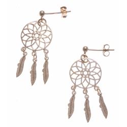 Boucles d'oreille plaqué or - attrape rêves - 3 plumes