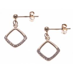 Boucles d'oreille plaqué or - carré ajouré - zircons