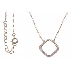 Collier plaqué or - carré ajouré - zircons - 40+4cm