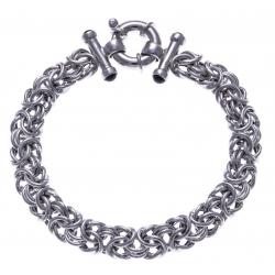 Bracelet argent rhodié 22g - onyx - 19cm
