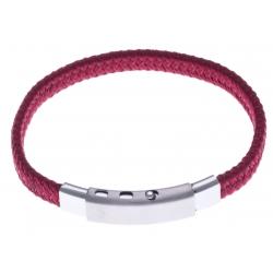 Bracelet acier homme - tissus rouge - largeur 0,8cm - réglable 20-21,5cm