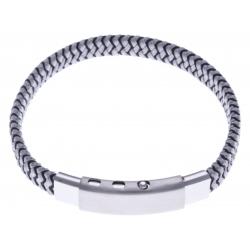 Bracelet acier homme - cuir gris et noir - largeur 0,8cm -  réglable 20-21,5cm