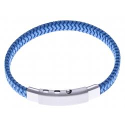 Bracelet acier homme - cuir bleu - largeur 0,8cm -  réglable 20-21,5cm