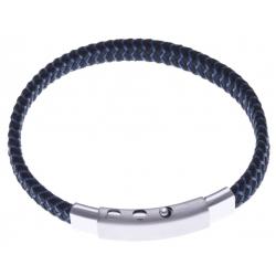 Bracelet acier homme - cuir bleu et noir - largeur 0,8cm -  réglable 20-21,5cm