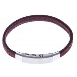Bracelet acier homme - cuir rouge et noir - largeur 0,8cm -  réglable 20-21,5cm