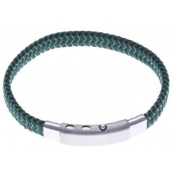 Bracelet acier homme - cuir vert et vert foncé - largeur 0,8cm - réglable 20-21,5cm