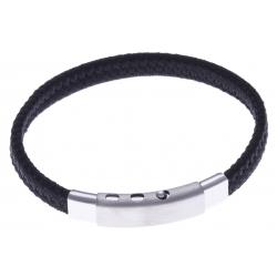 Bracelet acier homme - tissus noir - largeur 0,8cm - réglable 20-21,5cm