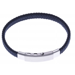 Bracelet acier homme - cuir bleu foncé - largeur 0,8cm - réglable 20-21,5cm