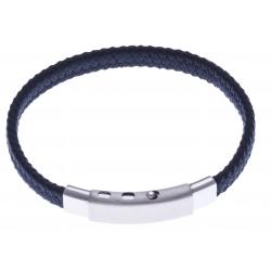 Bracelet acier homme - tissus bleu foncé - largeur 0,8cm - réglable 20-21,5cm