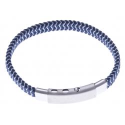 Bracelet acier homme - cuir bleu foncé et blanc - largeur 0,8cm -  réglable 20-21,5cm