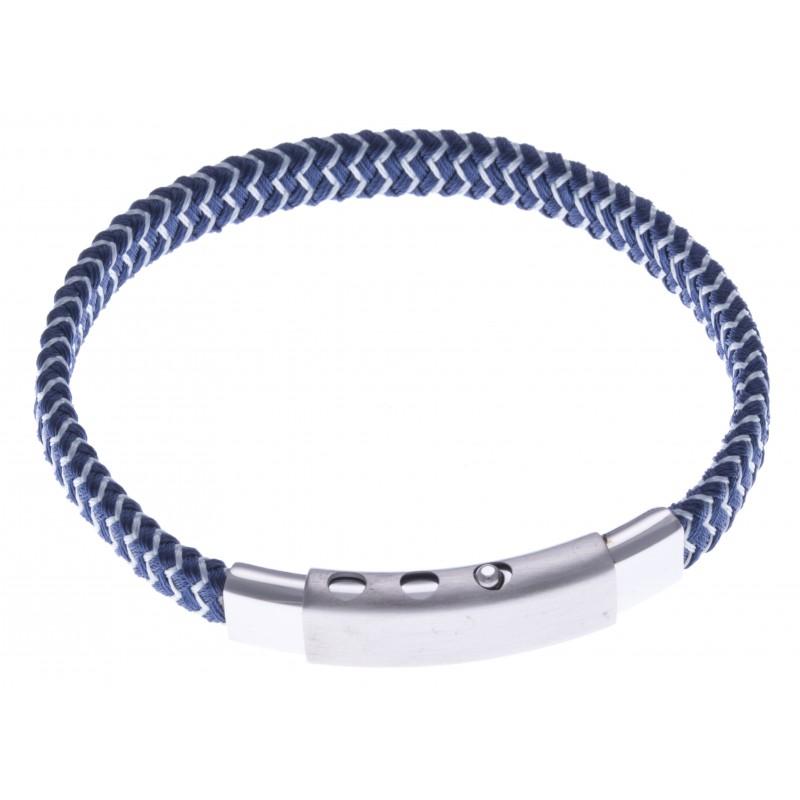 bracelet acier homme cuir bleu fonc et blanc largeur 0 8cm r glable 20 21 5cm les. Black Bedroom Furniture Sets. Home Design Ideas