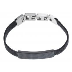 Bracelet acier homme maille milanaise 2 tons - 2 extensions - 21  cm