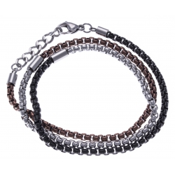 Bracelet acier homme 3 tours - 3 tons blanc, marron et noir - 60+3cm