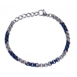 Bracelet acier homme - 2 tons - bleu et blanc - 20+3cm