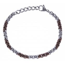 Bracelet acier homme - 2 tons - marron et blanc - 20+3cm